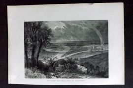 Picturesque Europe 1870s Antique Print. The Danube, near Vienna